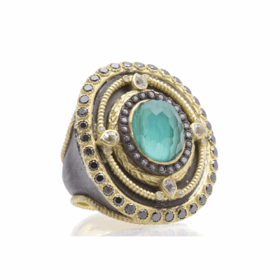 Oval Ring With Malachite Doublet
