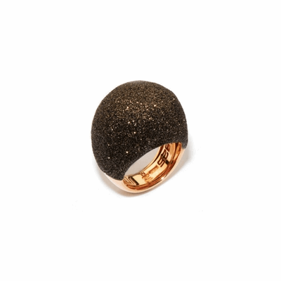 Large Dome Polvere Di Sogni Ring - Rose Gold & Dark Brown Dust