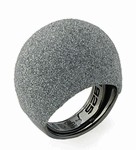 Large Dome Polvere Di Sogni Ring - Rhodium & Light Gray Dust
