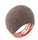 Large Dome Polvere Di Sogni Ring - Rose Gold & Beige Dust