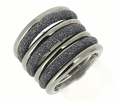 7 Band Combo Polvere Ring - Ruthenium & Dark Gray Dust