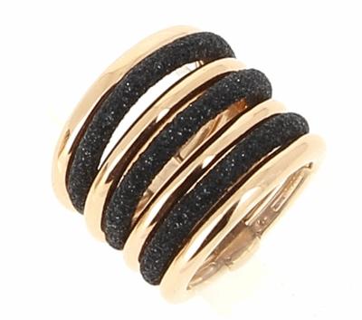 7 Band Combo Polvere Ring - Rose Gold & Black Dust