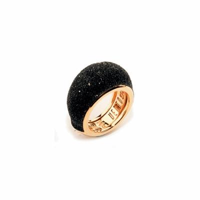 Small Dome Polvere Di Sogni Ring - Rose Gold & Black Dust