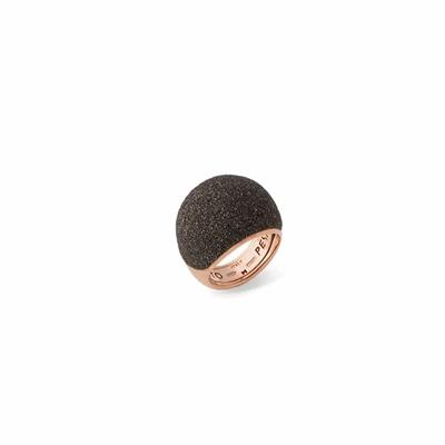 Medium Dome Polvere Di Sogni Ring - Rose Gold & Dark Brown Dust