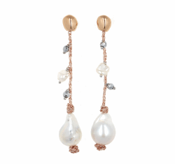 Closeup photo of DNA Shine Strand Earrings w/Hematite & Pearls - Rose Gold
