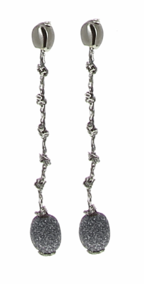 DNA Shine Knotted Drop Polvere Earring - Ruthenium & Dark Gray Dust