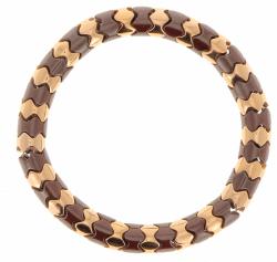 Closeup photo of Rose Gold & Dark Brown Scales Lux Bracelet