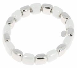 Closeup photo of Rhodium & White Ceramic Lux Bracelet