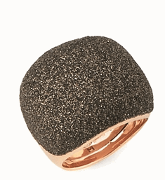 Small Pillow Polvere Di Sogni Ring - Rose Gold & Dark Brown Dust