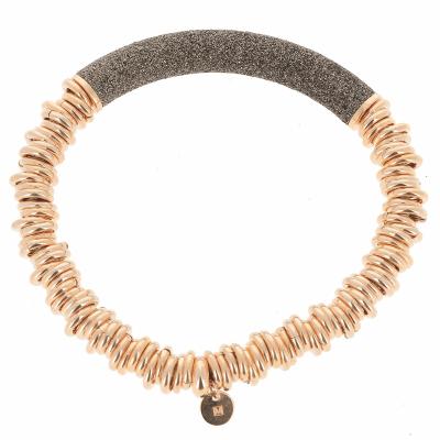Metalworks Full Bracelet with Polvere Bar - Rose Gold & Dark Brown Dust