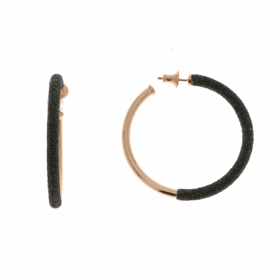 2-Tone Front Dipped Polvere Small Hoop Earrings - Rose Gold & Black Dust