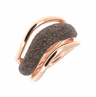 Large Wave Combo Polvere Ring - Rose Gold & Dark Brown Dust