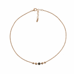 Closeup photo of Untie Single Polvere Circle Necklace - Rose Gold & Dark Brown Dust