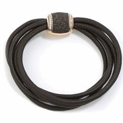 Closeup photo of Polvere Di Sogni Barrel Clasp w/ Diamonds - Brown Leather Braclet