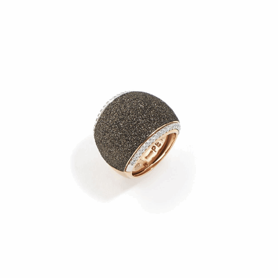 Polvere di Sogni Pillow Ring w/Diamonds - Rose Gold & Dark Brown Dust