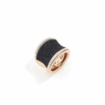 Polvere di Sogni Saddle Ring w/Diamonds - Rose Gold & Black Dust