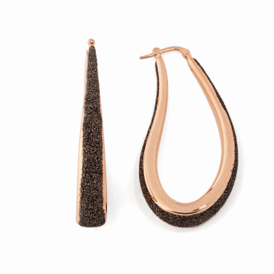 Small Teardrop Polvere Di Sogni Earring - Rose Gold & Dark Brown Dust