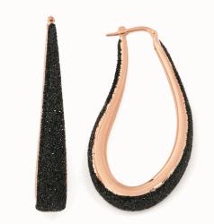 Closeup photo of Large Polvere Teardrop Earrings - Rose Gold & Black Dust