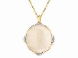 Lisse Triple Diamond Pave Oval Stone Pendant - P03S16-MS-WDCB-Y