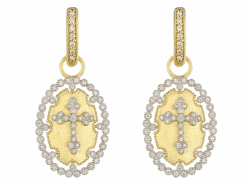 Provence Champagne Oval Bezel Cross Earring Charms