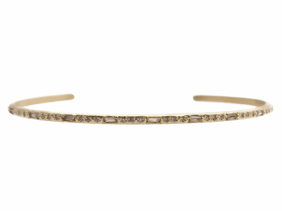 18k yellow gold thin cuff bracelet with white sapphire baguettes and white diamonds