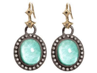 Green Turquoise Earring - 04036