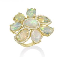 Abstract Opal Gemma Flower Ring