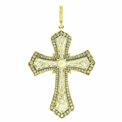 Antique Art Deco Cross with Pearl and Mine Cut Diamonds