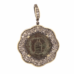 Lady Of Montserrat Scalloped Pave Diamond pendant