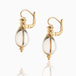Closeup photo of 18K Classic Amulet Earrings with rock crystal