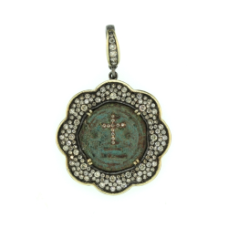 Ancient Byzantine Coin with Cross Inlay