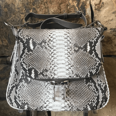 Zippered Messenger Bag in Natural Python and Ostrich Trim