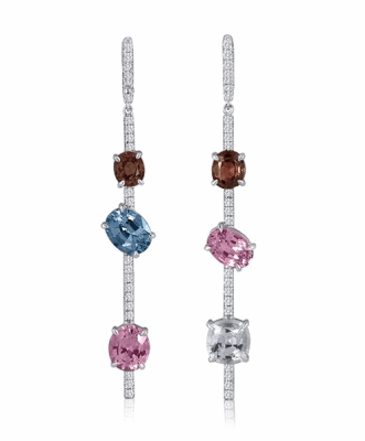 Asymmetrical Mixed Spinel and Diamond Earrings