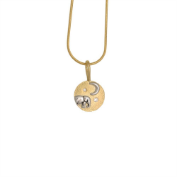 Elephant baby and moon pendant
