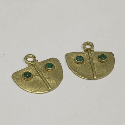 18k Shield Earring Charms - Emerald