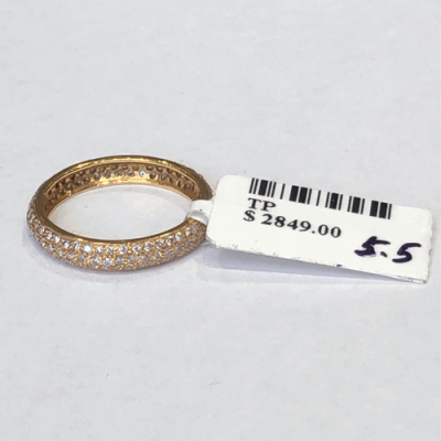 Pink diamond pink gold tyre band in 18k